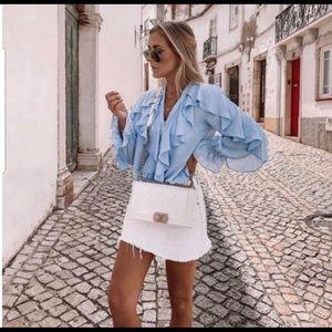 Zara flowy blue blouse NWT small